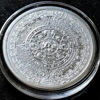 The Aztec Calendar Stone 1 oz .999 Silver Round Cuauhtemoc Eagle Snake