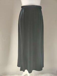 Vintage ALEXON Black Long Velvet Skirt High Waist A line Blogger Occasion UK 12