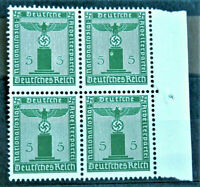 W.W.2 ORIGINAL GERMAN BLOCK OF 4 OFFICIAL STAMPS WITH MARG.5 RF. MNH