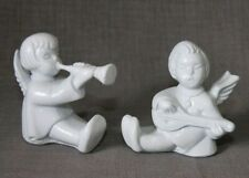 2 small vtg CHERUB figurines white porcelain, playing musical instruments H2¼""