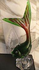 Gr.alter Murano Fisch Glasfisch handgefertigt klarer Überfang 32 cm Hoch1,5 kg