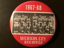 Michigan City (Indiana) Red Devils 1967-68 boys basketball team photo button