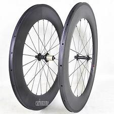 88mm Carbon Clincher Front Rear Wheel 700c Road Bike 3K Matt 25mm Wide Novatec