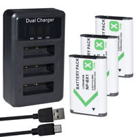 3x Battery &Triple Charger for Sony Actioncam FDR-X3000, FDR-X3000R FDR-X1000