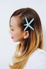 Blue Starfish Barrette Wedding Hair Clip Ariel Mermaid Nautical Accessories