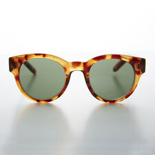 Andy Warhol Round Preppy Vintage Sunglasses Tortoise Green Glass Lens -SAMMY