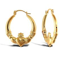Brand New 9ct Yellow Gold Claddagh Creole Earrings. RRP Over £45!!