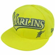 MLB Florida Marlins New Era 59Fifty 5950 Fitted Hat Cap Yellow On Field 7 1/4