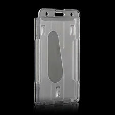 Clear Transparent  Vertical Hard Plastic Multi Card ID Badge Holder 10x6cm tool