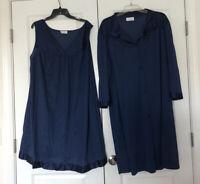 Vintage Plus Size Gown Robe Set XXXL Vanity Fair Nylon BLUE Satin Trim 3XL USA