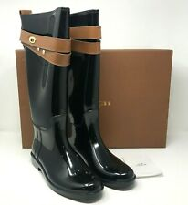 COACH TALIA Black & Saddle Shiny Rubber RAIN BOOTS Turnlock Detail Size 10M