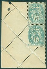 FRANCE : 1900-13. Yvert #111 Spectacular Fold over corner pair . Partial Imperf.