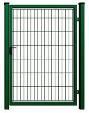 Pforte Gartentor Tor 1 Flügelig Doppelstab 100x200cm Schloß, Klinke grün RAL6005
