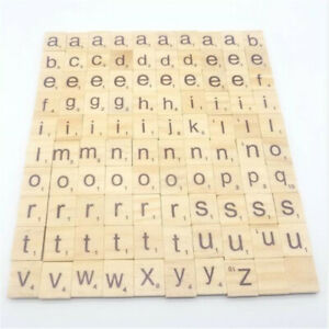 Alphabet Wooden Scrabble Individual Tiles Letters Numbers DIY Crafts Wood SG