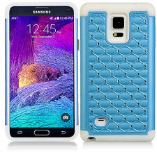 For Samsung Galaxy Note 4 Hybrid Studded Diamond Case Cover White Skin