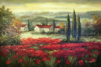 Italian Red Poppy Field Homes Sunrise 24X36 Oil On Canvas Painting STRETCHED