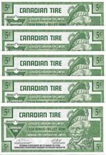 LOT of 5 ~ CANADIAN TIRE 2007 - 5 Cent Coupons; Mint - FREE SHIPPING Canada & US