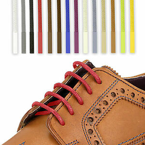 Waxed Cotton Shoelaces Round Thin 2.5mm Dress Wax Cord Shoe Laces Brogues Shoes