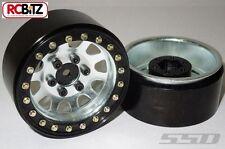 "1.9"" Ruedas de Acero beadlock D agujero 2 Plata 12mm Hex montaje Escala pernos SCX10"