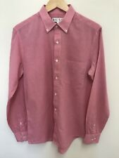 Reiss Mens Long Sleeve Shirt Dogtooth Check Salmon Pink White Size L Large