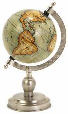 "Beautiful Tabletop Rotating Geographical World Globe Nickel Finish Base 10"" H"