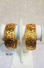 Gold Plated Indian Bangles Light Weight Pack Of 2 Bangles Kangan Kada Women wide