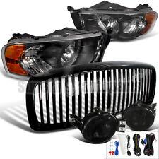 2002-2005 Dodge Ram Headlights+Fog Lamps Smoke+ABS Vertical Hood Grille Black