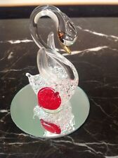 """Vintage Hand Blown Swan With Red Heart Melted On Reflective Mirror 3"""" Tall"""