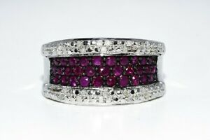 1.20CT NATURAL RUBY & WHITE DIAMOND SILVER COCKTAIL RING SIZE 7.25
