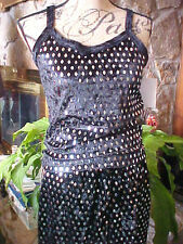 Misses 3 Piece Set 2 Pants 1 Top Velour Red Black Diamon Shaped Sequins SZ M