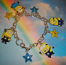 FUNKY MINIONS DESPICABLE ME ENAMEL CHARACTER CHARMS BRACELET SILVER IN GIFT BAG