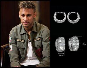 Men's/Boy's: Neymar - PSG Brazil Multi-Diamond 18K White Gold Huggie Earrings