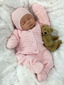 REBORN DOLL GIRL FAKE BABY BALD PINK KNITTED OUTFIT M