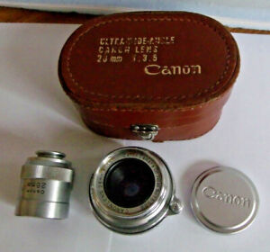 Canon 28mm f3.5 Lens in Leica Screwmount with Canon 28mm Finder, Caps & Case