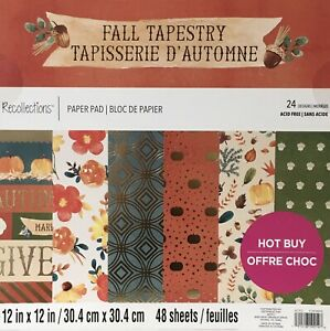 RECOLLECTIONS  12 x 12 Paper Pad Fall Tapestry  Cardstock - 48 sheets