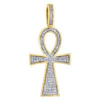 10K Yellow Gold FN 0.26 CT Round Diamond Egyptian Ankh Cross Pendant Mini Charm