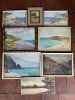8x Elsie Haynes Framed Paintings Water Colour Print Sketch Devon English Artist