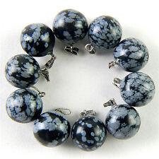 10pcs Pretty Snowflake Obsidian Ball Pendant Beads Marking Jewelry 18x14mm WYZ8