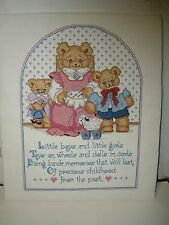 finished cross stitch Little Boys & Girls Toys on Wheels Bring Back Memories of