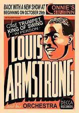 "Louis Armstrong, 20""x14""  poster, Vintage music,JAZZ, Trumpet, Art Print"