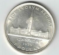 CANADA 1939 PARLIAMENT SILVER DOLLAR KING GEORGE VI SILVER COIN
