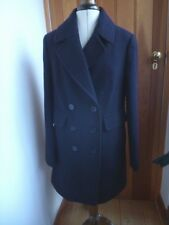 MARKS AND SPENCER NAVY BLUE COAT JACKET SIZE UK 10  NEW WOOL RICH SMART WARM