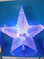 10 IN Transparent Red Green Star Illuminated Tree Topper Christmas Decoration