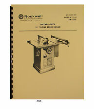 "Rockwell Delta 10"" Tilting Arbor Table Saw Operator & Parts Manual #890"