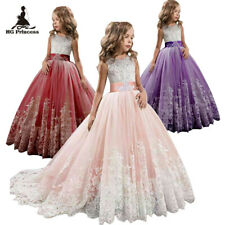 Girls Kid Sleeveless Round Neck Princess Lace Bling Party Gown Tutu Dresses gift