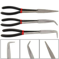 3x 11 inch Extra Long Nose Pliers Set Straight Bent Tip Mechanic Grip Hand Tool