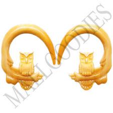 0686 Spiral Owl Taper Expander Stretcher Plugs Hoops 2G 6mm L Brown Beige Blonde