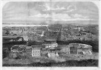 BIRDSEYE VIEW OF THE CITY OF WASHINGTON 1861 MONUMENT CAPITAL CONSTRUCTION RARE