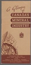 """[31874] 1939 NEW YORK WORLD'S FAIR """"CANADA'S MINERAL INDUSTRY"""" INFO BOOKLET"""