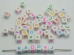 100 White with Colorful Assorted Alphabet Letter Cube Pony Beads 9X9mm